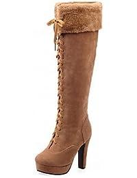 Heart&M Mujer Zapatos Cuero Nobuck Otoño Invierno Innovador Botas de Moda Confort Botas Tacón Robusto Dedo Puntiagudo...