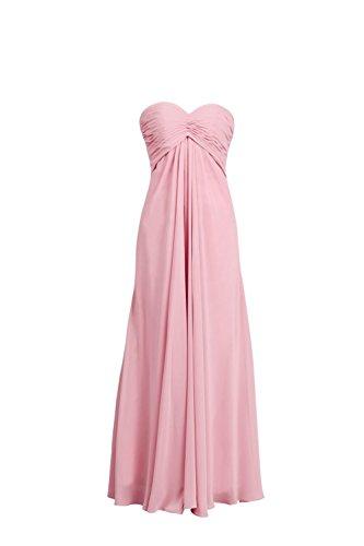YiYaDawn Langes Rückenfreies Abendkleid Ballkeid Brautjungfernkleid für Damen Rosa