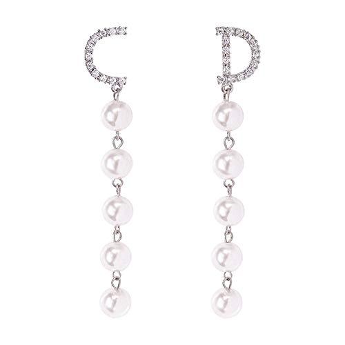 AIFEI Damenmode Lange Asymmetrische Brief Verzierte Quaste Ohrringe