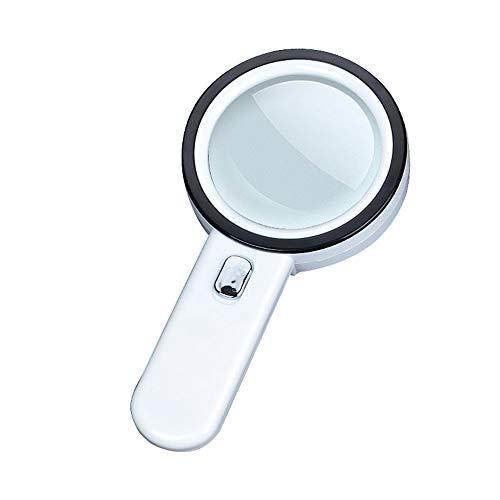 Vaso esktop Lupa Cristal Blanco /óptico 8 Veces con Espejo de ampliaci/ón de l/ámpara de Escritorio de reparaci/ón de luz LED observaci/ón al Aire Libre de la Oficina de lectur Color : Blanco