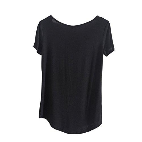 Etosell Femmes V-Neck Manches Courtes Casual Lache Blouse T-Shirt Noir