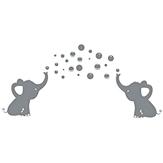 LUCKKYY Elephants Bubbles Wall Decal Vinyl Wall Sticker Wall Art Baby Nursery Wall Decor (Grey)