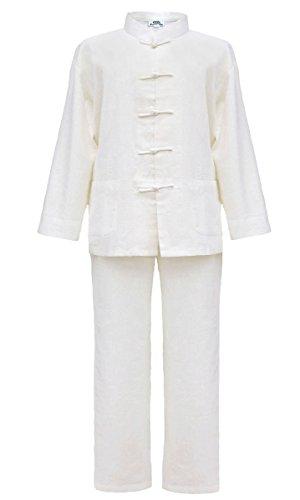 Tai chi abbigliamento avorio cotone e lino per l'uomo, uniforme qi gong e kung fu, abiti da arti marziali taglia xxl