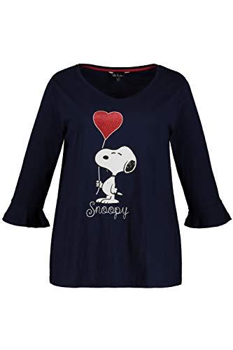 Ulla Popken Damen große Größen bis 64, Shirt mit Snoopy-Motiv, glänzender Herz-Ballon, Rundhalsausschnitt, 3/4-Ärmel mit Volant, Marine 50/52 720714 70-50+ -