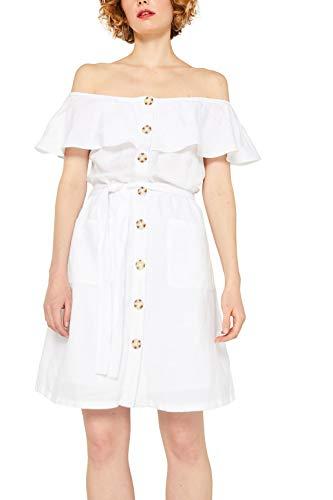 ESPRIT Aus Leinen-Mix: Off-Shoulder-Kleid mit Knopfleiste