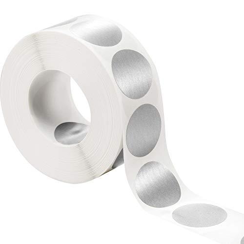 (1000 Stücke 1 Zoll Scratch off Aufkleber Runde Etiketten (Silber))