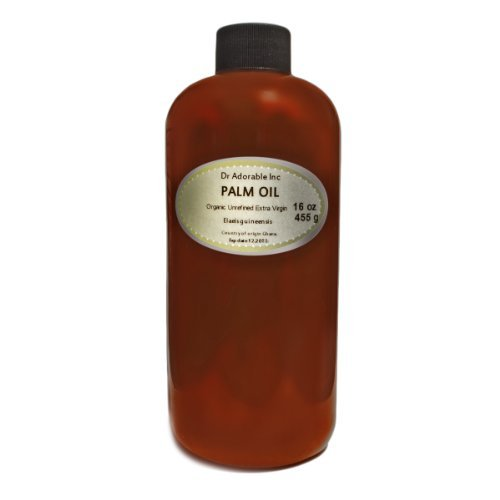 Raw rojo Virgen Extra Aceite de palma orgánico sin refinar 16oz