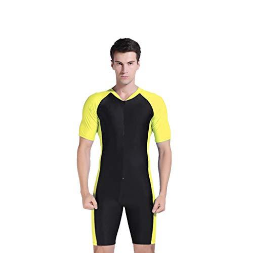 LOPILY Herren Wetsuit Neoprenanzug Schwimmen Surfen Tauchen Sport Badeanzug Surfbekleidung Einteiler Bademode UV Schutz Sonnencreme Wassersport Anzug Schnorcheln(Gelb,2XL)