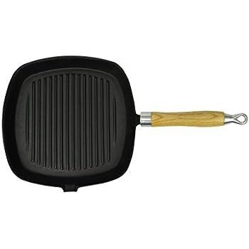 vidaxl pfanne grillpfanne gusseisen steakpfanne 20 x 20 cm holz griff bratpfanne. Black Bedroom Furniture Sets. Home Design Ideas