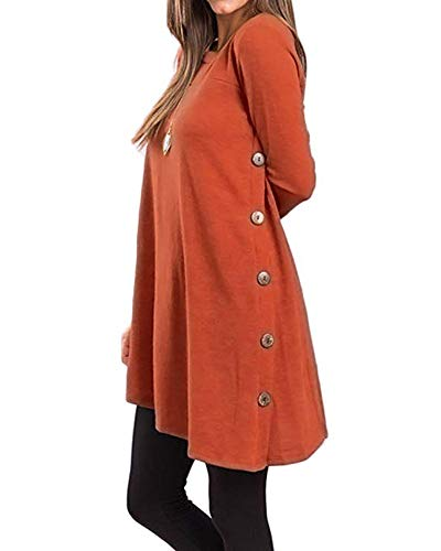 Damen Seitliche Tasten Casual Langarm Rundhals Pullover Sweater Oblique Hem Tunika Kleid Orange M -