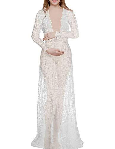 ELEGENCE-Z Schwangerschaftskleidung, Sexy Lady Europa Und Amerika White Deep V-Ausschnitt Mit Langen Ärmeln Spitze Perspektive Engen Kleid Maxi Rock M (Lady Von Amerika)