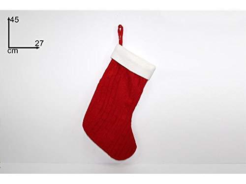 Due esse calza befana lana rossa 45 cm decorazione natale epifania