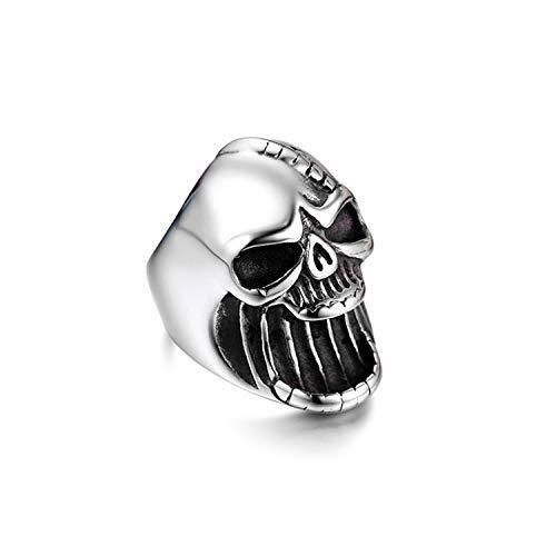 JewelryWe Schmuck Herren-Ring, Edelstahl Totenkopf Schädel Gothic Biker Flaschenöffner Ring, Silber, Größe 57 -