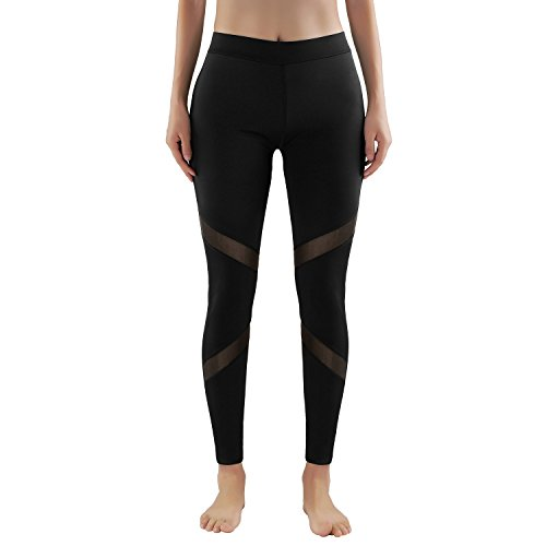 2er-Pack/1er Pack GoVIA Leggings Damen Laufhose mit Mesh-Einsatz 4132 streche Fitness Yoga Sporthose High Waist Luftdurchlässiges Textil-Netzgewerbe Modell 1