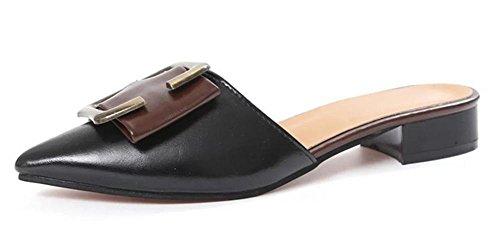 Tempérament boucle de ceinture en métal chaussures pointues sandales pantoufles mode sauvages femme Black