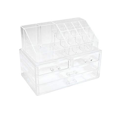 P&J Kosmetik Organizer Acryl 1731 | Aufbewahrungsbox für Make-up und Schmuck | B24xT14xH18,5cm | mit 16 Fächern und 4 Schubladen