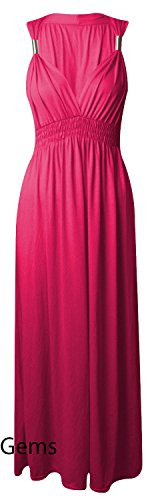 Maxi robe sans manches longues en Jersey Stretch Rose - Fuchsia