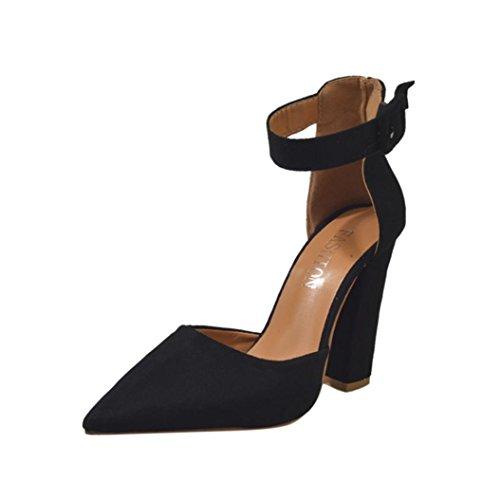 Mode Einzelne Schuhe Damen, DoraMe Frauen Knöchel High Heels Wildleder Spitze Party Schuhe Frühling Sommer Schnalle Pumps (EU:42/CN:43, Schwarz) (Heel High Schwarz Gelb)