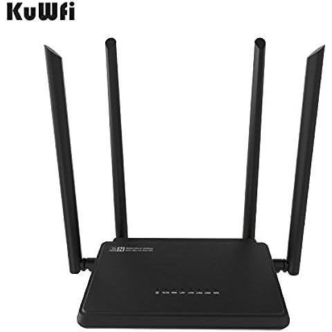 kuwfi 300Mbps Router Wi–Fi 2.4GHz Pa IEEE802.11N Router di diluizione a banda larga nelle famiglie Singnal Re/RL–Parte 5porte 5dBi alto guadagno antenne esterne W 5V AC trasformatore–Nero