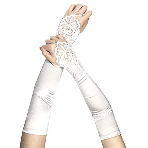 Lange Damen Handschuhe aus elastischem Satin in Weiß - Stulpen in Einheitsgröße für Frauen, Hochzeiten, Opern, Bälle, Fasching, Karneval, Verkleidungen, Halloween... ()