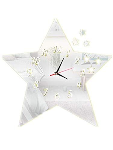 Kreative Mode (PANGUN DIY-Wohnzimmer Dekoration Mute Wall Clock Kunst Mode Kreative Wand Uhr Pentagramm Stern Spiegel Uhr-Silber)