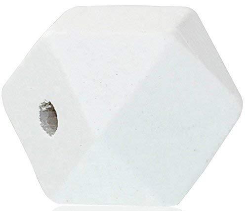 SiAura Material 10 Stück Polygon Holzperlen 20x20mm mit 3,7-4,2mm Loch geometrische Form, Weiß zum Basteln