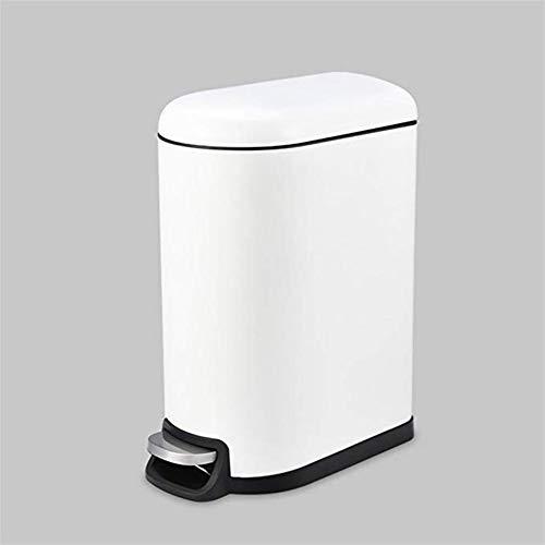 WOAINI Mülleimer Home Wohnzimmer Schlafzimmer Büro Mit Deckel Edelstahl Fuß Mülleimer Kreative Edelstahl Stille Deodorant Pedal Bin (Color : White) White Pedal Bin