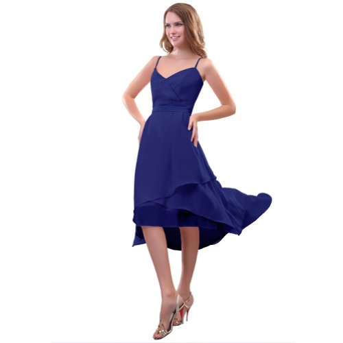 Lemandy Robe de cocktail mousseline avec bretelles fines Bleu royal