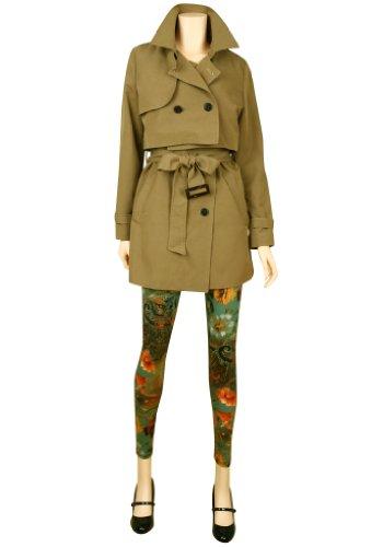 ililily Jacke: Zweireihiger Trench Coat mit Reverskragen Dark Beige
