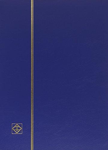 Classeur philatelique a feuilles fixes, 64 pages noires, A4, Leuchtturm, couverture bleue