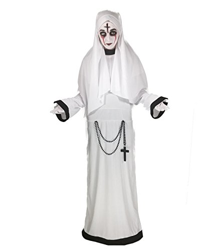 Scary Kostüm - Rubber Johnnies Sinister Schwester Nonne Kostüm,, weiße Scary Mary Kostüm (eine Größe 8-12) Erwachsene Damen