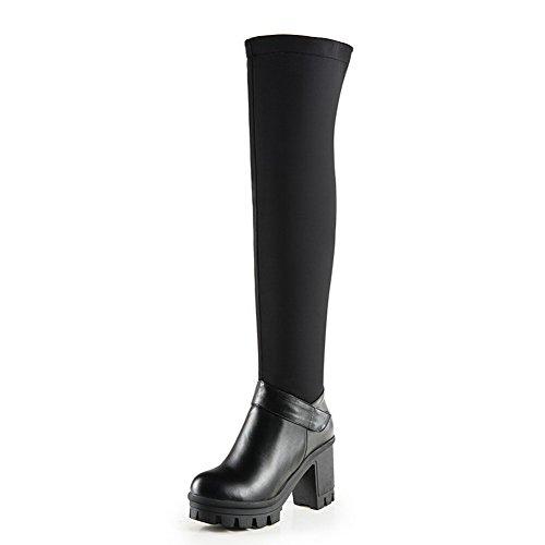 AgooLar Damen Reißverschluss Hoher Absatz Rein Hoch-Spitze Stiefel mit Metallisch, Schwarz, 37