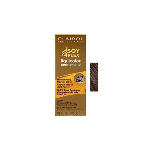 Clairol Colorant permanent Soy4Plex Liquicolor - Couverture du gris à 100% - Châtain moyen doré neutre 39G - 59 ml