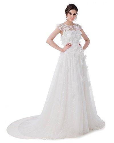 Pretee Neue Braut Prinzessin Süße Spitze Blüte mit Perlen A-Line - Länge Lange Brautkleider...
