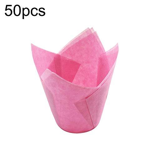 Momangel 50 Stück Hochtemperaturbeständiges Papier Cupcake Tulpen Backförmchen Anti-Öl Muffin Liner Wrappers Küche Backwerkzeug rose