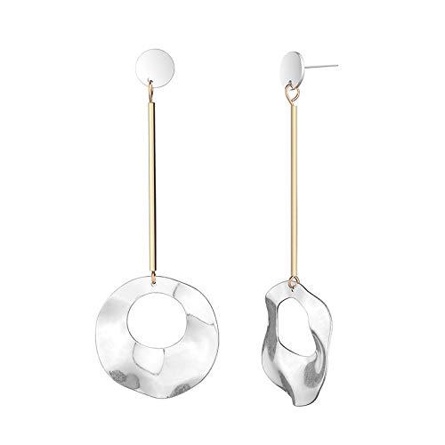 Glas Honig Kostüm - Einfache Mode Gold Kupfer Rohr Neun-wort Nadel Ohr Nagel Persönlichkeit Lange Runde Sand Silber Damen Ohrringe