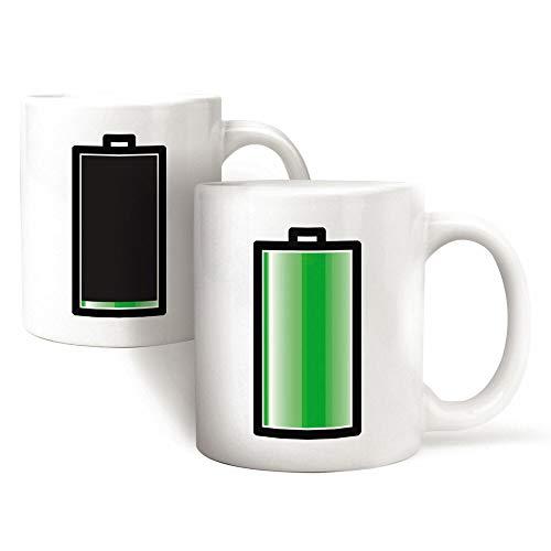 Monsterzeug Farbwechsel Tasse Batterie, Colour Changing Mug, Henkeltasse Akku Aufladen, Teetasse, Kaffebecher, Thermotasse, Zaubertasse, Wärme empfindliche Kaffeetasse, Keramik Teebecher