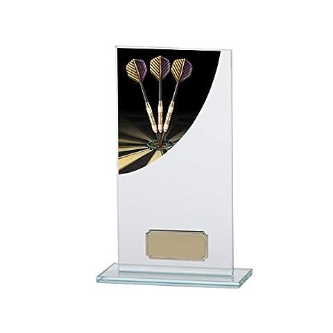 180mm Colour Curve Darts Glass Trophy,Free Engraving (CR4608C)