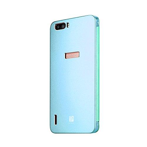 Premium Oats Huawei Honor 6 Plus Schutzhülle mit stylischer Aluminium Vorder und Rückseite Transparente Vorderseite Hülle Hard Cover Flip Back Case Tasche - von OKCS in Silber Blau