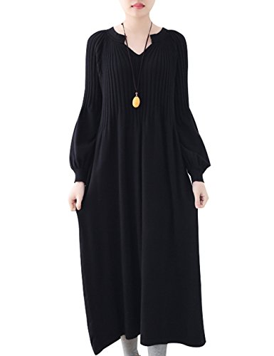 Youlee Femmes Hiver Automne Robe Pull en Laine Manches Longues Robes Maxi Style 3 Black