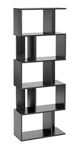 ts-ideen Design Regal Hochregal Standregal Bücherregal CD-Regal Aufbewahrung Holz schwarz 160,5 x 60 cm