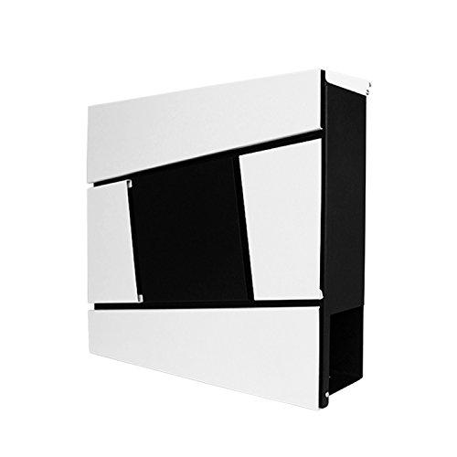 LZQ Neu Typ Zeitlosem Design Edelstahl Briefkasten, Wandbriefkasten mit Zeitungsfach, A4 Einwurf-Format, Abschließbar (Modell I)