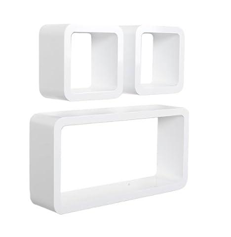 Lot de 3 Cubes salon Design étagères bibliothèque rétro CD DVD étagères murales en Blanc