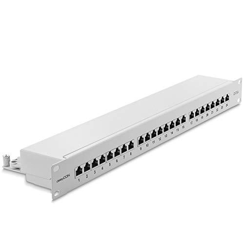 deleyCON CAT 6a Patchpanel Verteilerfeld 24 Port - Desktop 19 Zoll Rackeinbau Servermontage RJ45 Geschirmt - TIA568A TIA568B - Lichtgrau