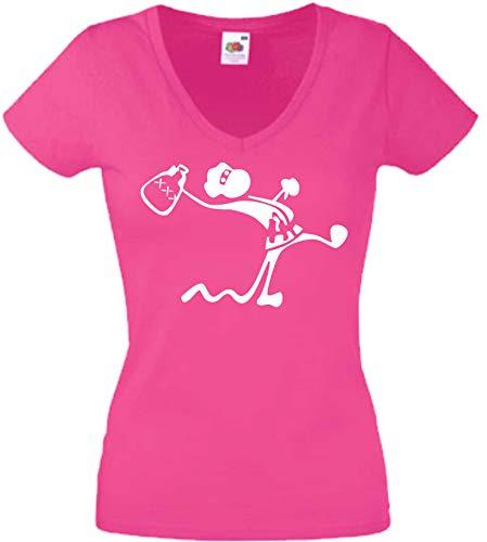 JINTORA T-Shirt - Chemise Femme Rose - V-Cou - Taille S - Drunken Ninja Monkey - JDM/La Coupe - pour la fête Carnaval Travail et Loisirs