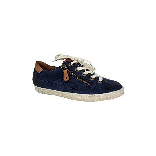 4128 Leather Trainer with Zip Navy