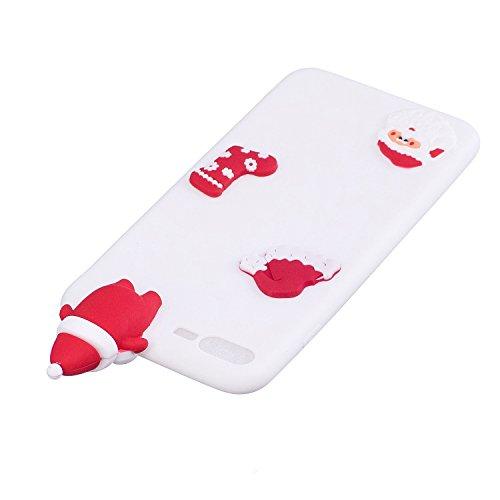 Copertura morbida del silicone TPU Per iPhone 7 Plus/iPhone 8 Plus, Funyye Bello 3D Bambola [Alce] Modello bello Carino color candy [Rosso] Disegni Brillantini Glitter Morbido Sottile Chiaro Leggero G Babbo Natale bianca
