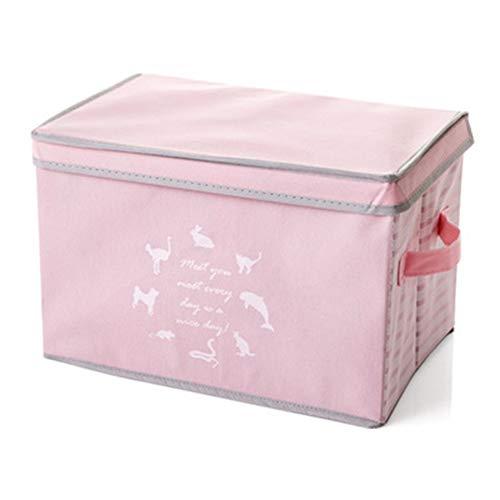 JUNGEN Scomparto di immagazzinaggio della Trapunta di Abbigliamento Stampato Animali di Scatola Pieghevole con Maniglie dei coperchi (Rosa)