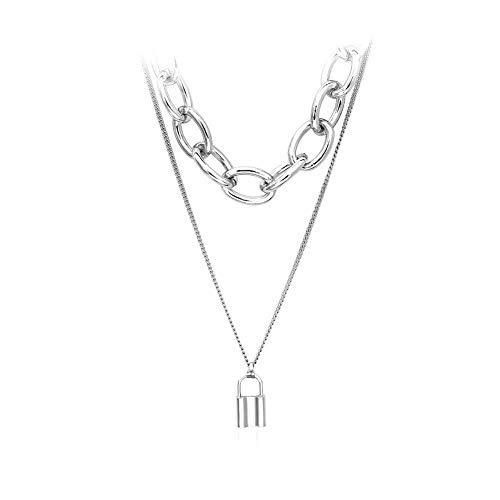 JZTRADING halsketten für Frauen Schloss Choker Kragen Armband Set anhänger Klassische einstellbar einfache Kette Halskette für Damen mädchen Frauen Party zubehör (Silber b)