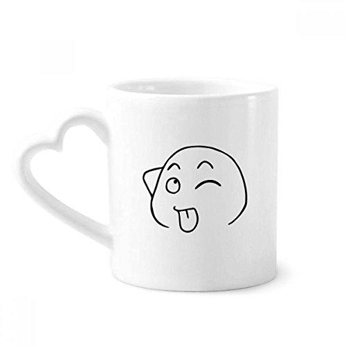 e Zunge heraus Schwarz Emoji-Muster Kaffeetasse Keramik Keramik-Schale mit Herz Griff 12 Unzen Geschenk Mehrfarbig ()